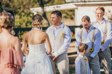 The bride and groom exchange their wedding vows